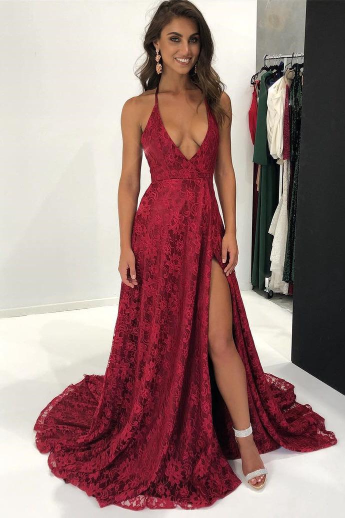 Sexy Spaghetti Straps A-Line Red Prom