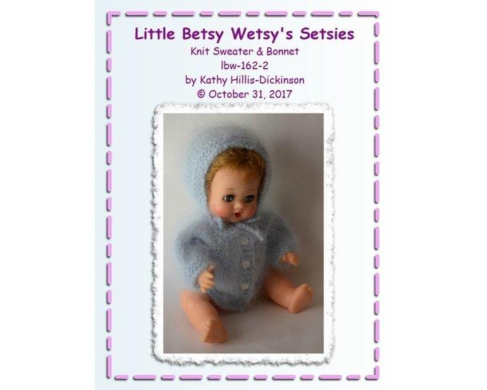 PDF Knit Pattern LBW-162 Sweater Bonnet to fit Ideal Little Betsy Wetsy
