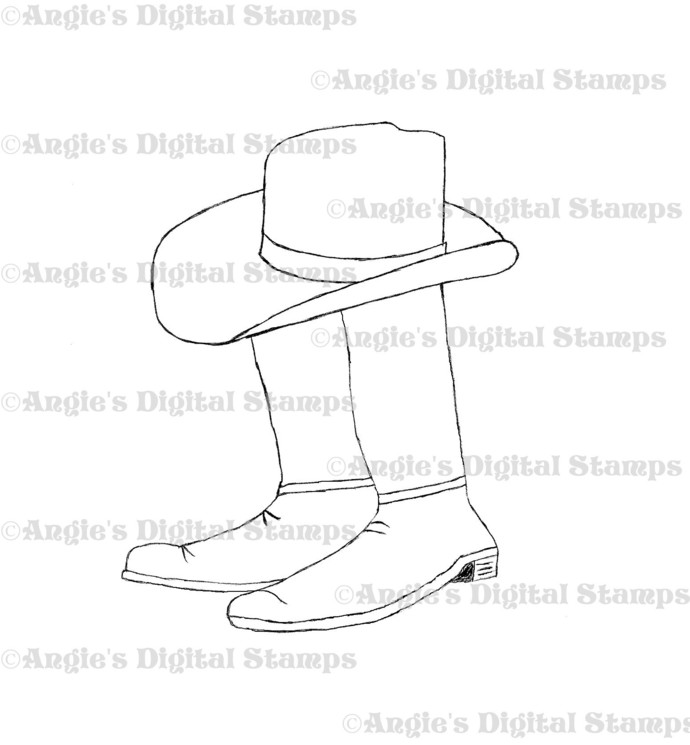 Cowboy Hat With Boots Digital Stamp