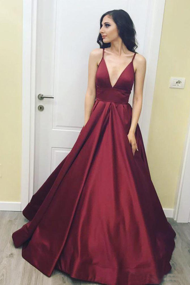 369e20908 V-neck Prom Dresses,burgundy prom dress,simple prom gown,satin prom
