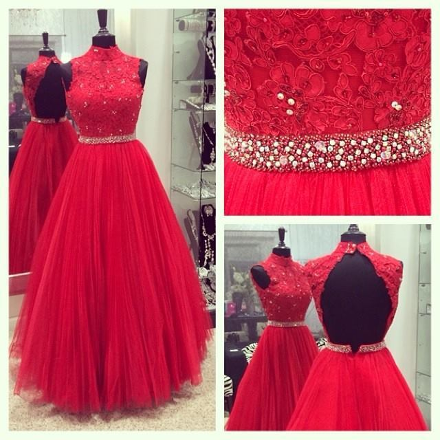 Red High Neck Lace Beading Prom Dress, Tulle Prom Dresses