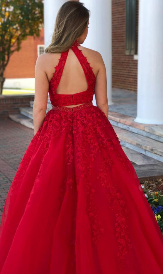 Charming Two Piece Prom Dress, Sexy Beaded Appliques Prom Dresses, Long Evening