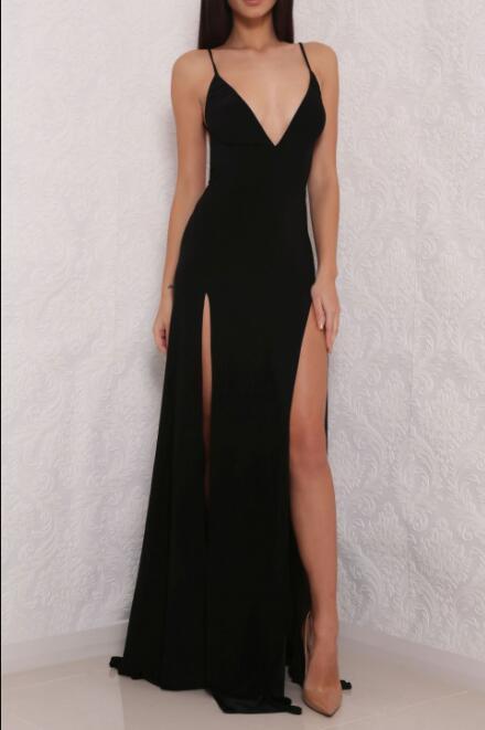 2b87d74d289 Sexy Black Spaghetti Strap Prom Dress