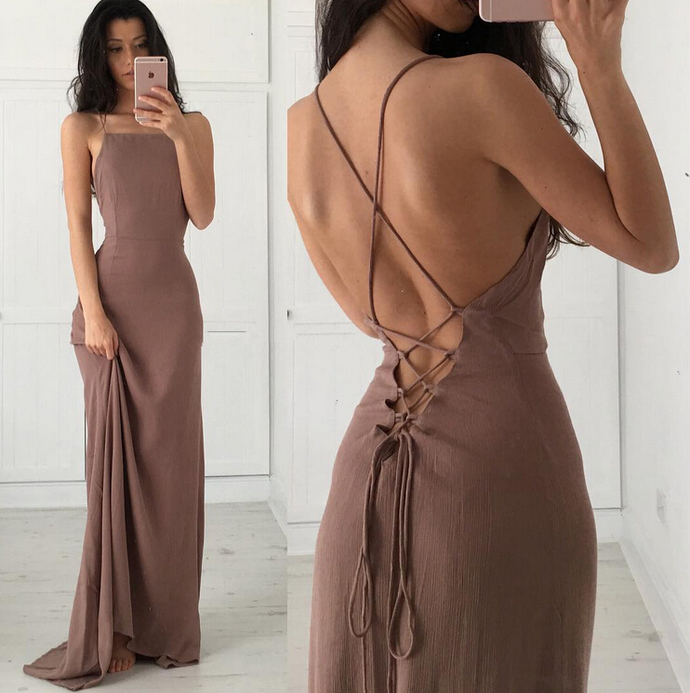 Floor Length Prom Dress Featuring Sexy Cross Back and Lace-Up Back Detailing