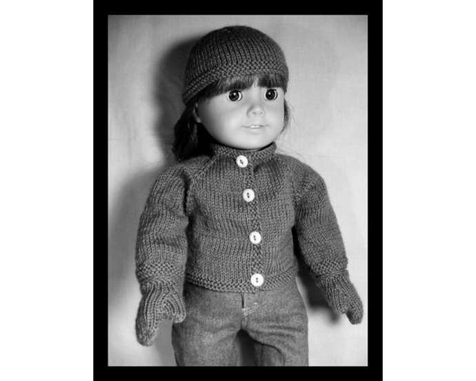 PDF Knit Pattern AG-81 to fit American Girl, Magic Attic Club, Bitty Baby