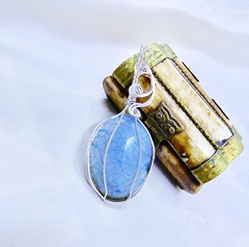 Beautiful Blue Dragon Scale Sterling Silver Pendant
