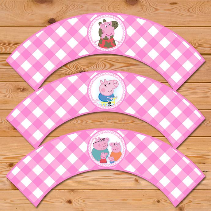 Peppa Pig Cupcake Wrapper - Pink Checkered * Peppa Pig Birthday * Peppa Pig
