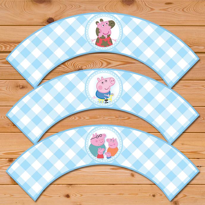 Peppa Pig Cupcake Wrapper - Blue Checkered * Peppa Pig Birthday * Peppa Pig