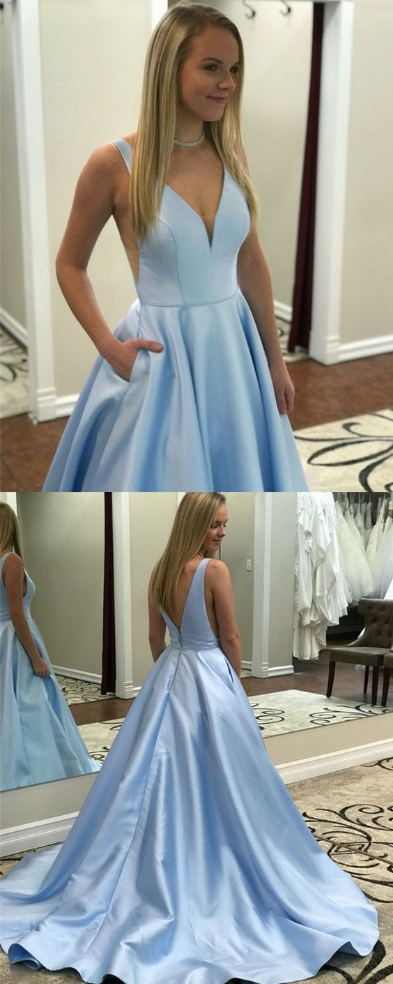 Chic Baby Blue Satin V-neck Satin Prom by prom dresses on Zibbet