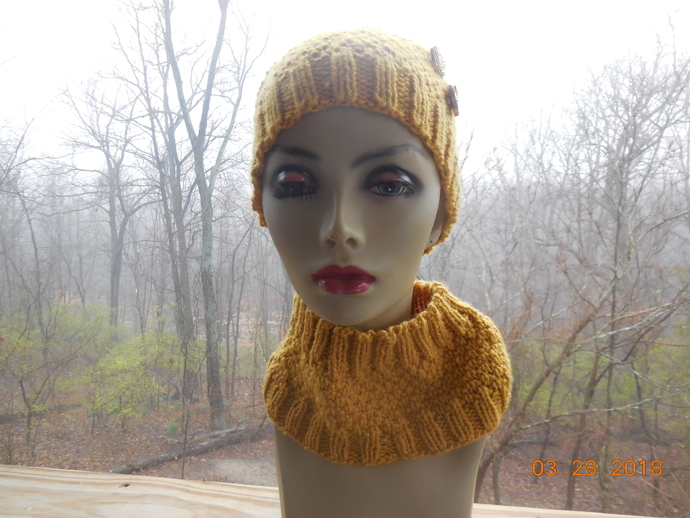 Gold Beanie with Buttons and Neckwarmer