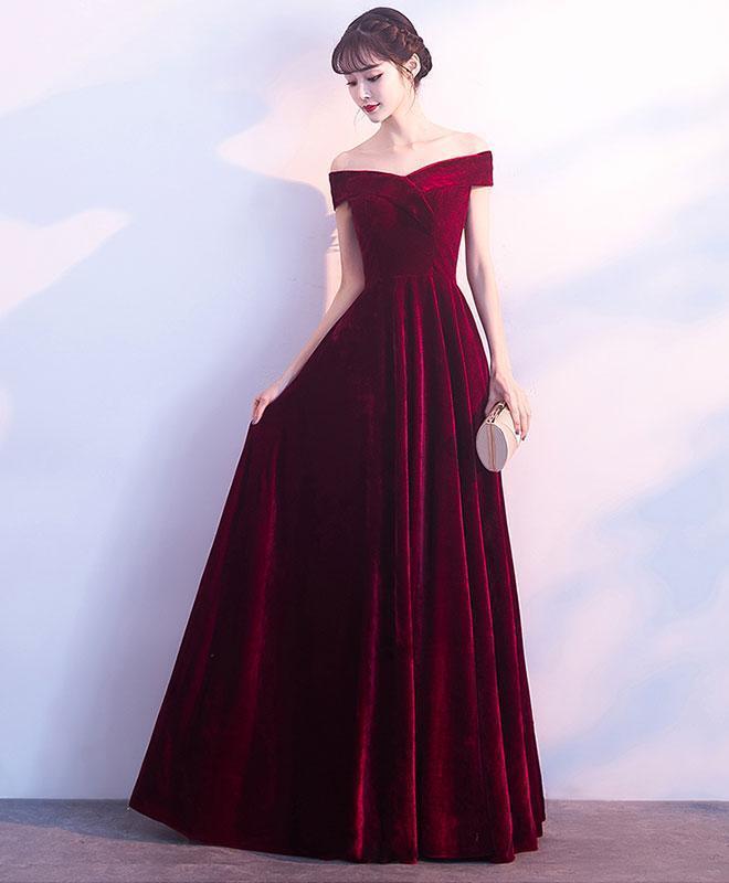 Burgundy v neck velvet long prom dress, by prom dresses on Zibbet