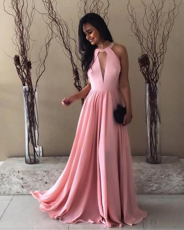 Pretty Pink Halter Chiffon Prom Long Dresses Open Back Evening Gowns