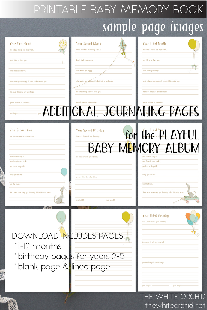 Printable extra journaling pages, Playful baby memory album pages, baby keepsake