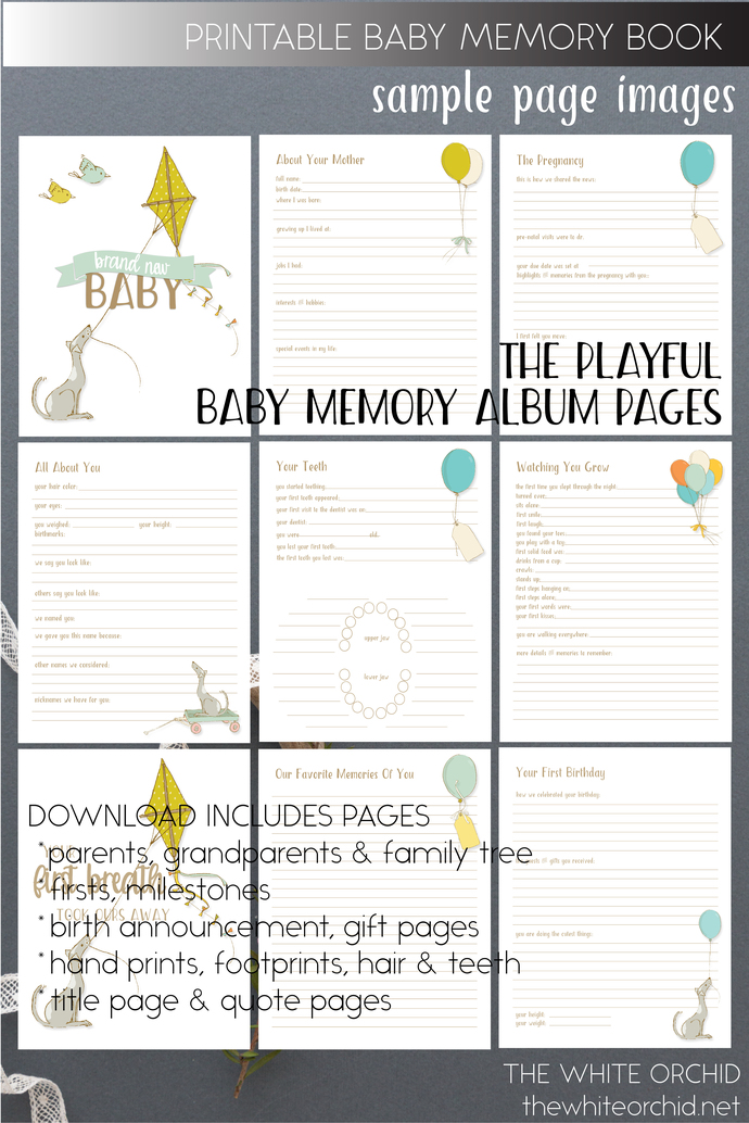 Printable Playful Baby Memory pages, baby girl keepsake album pages, baby boy
