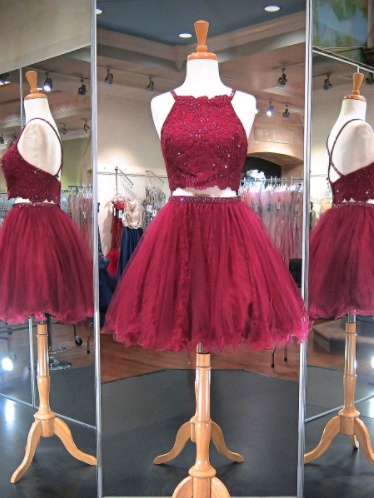 Cute Spaghetti Straps A-Line Homecoming Dresses,Short Prom Dresses,Cheap