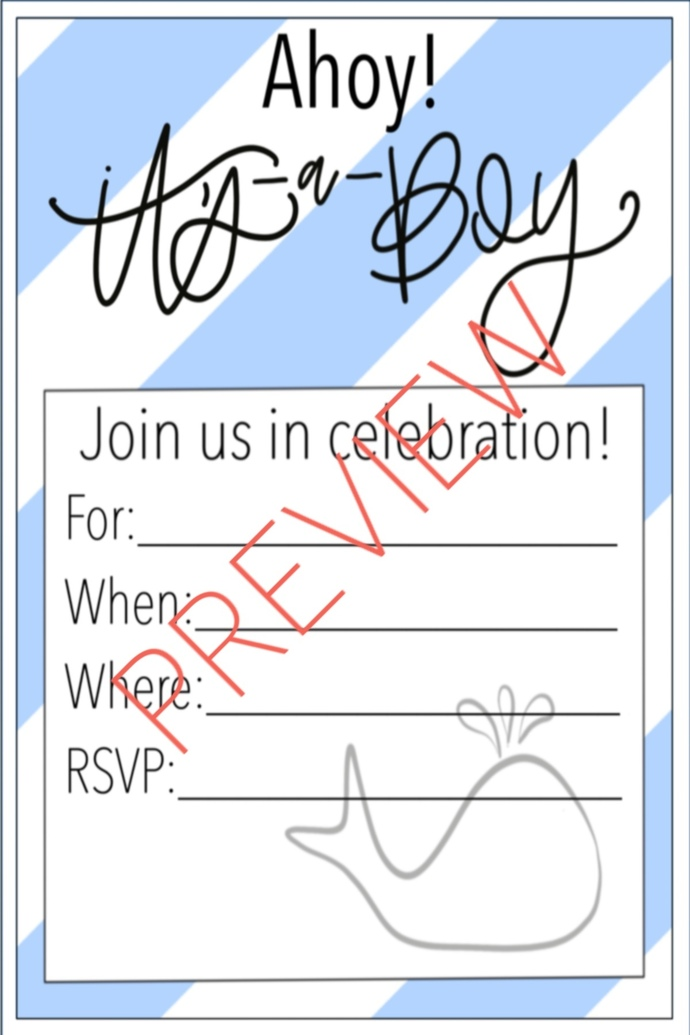 Baby Boy Shower Invitation - Nautical by Place of Paper on Zibbet