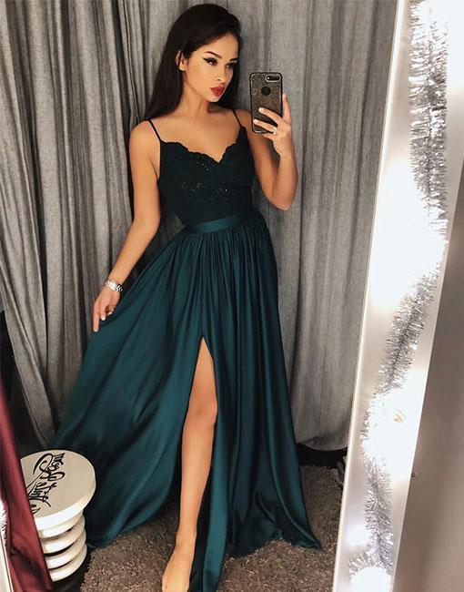 Green Chiffon Prom Dress