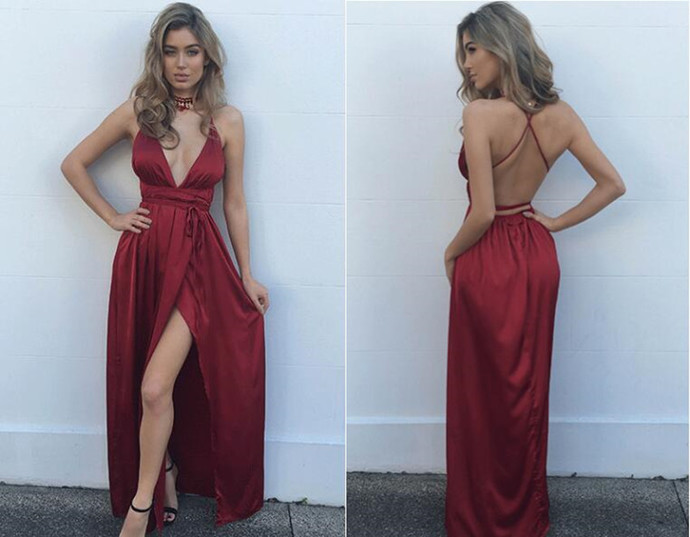 cf1306d732a5 Sexy Burgundy Maxi dress,v neck evening dress,long formal dress,backless  prom