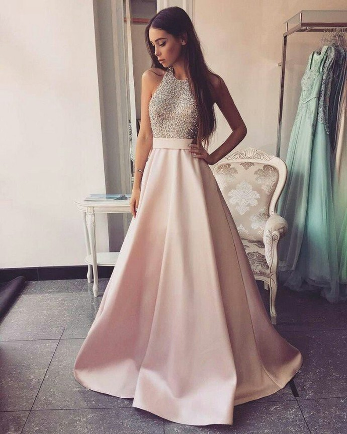 high neck long aline pink prom dresses beading open by