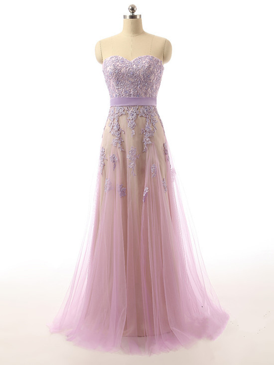 Sweetheart Neck tulle Prom Dresses Appliques Women Party Dresses