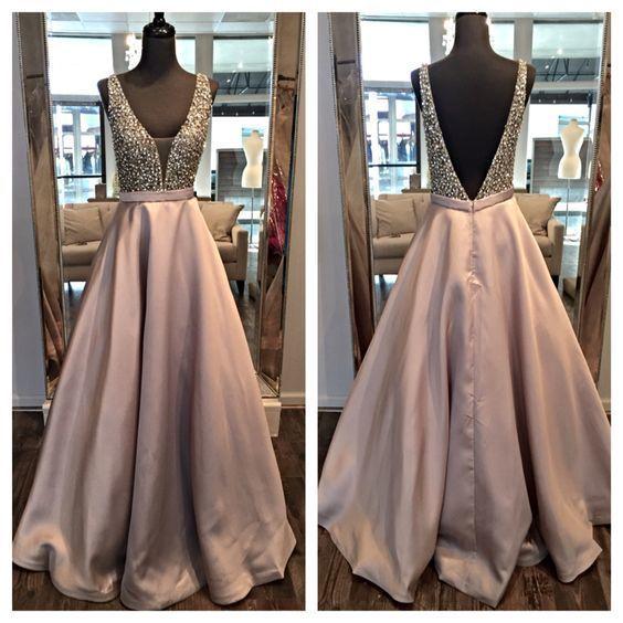 Charming Satin Prom Dresses 20186 Deep V-neck Crystals Beaded Floor Length Women