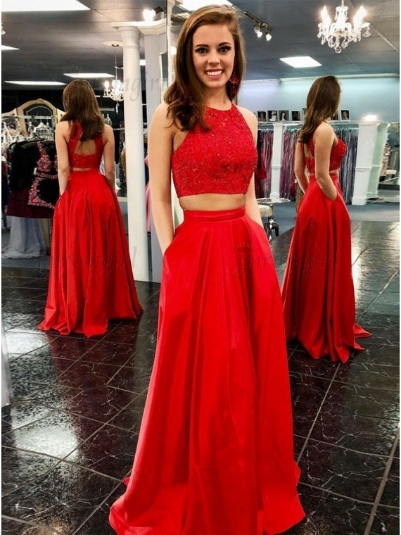 Two Piece Crew Open Back Floor-Length Red by prom dresses on Zibbet
