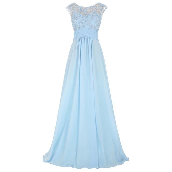 Light Blue Floral Appliqué Chiffon Long Prom dress with Illusion Jewel Neckline