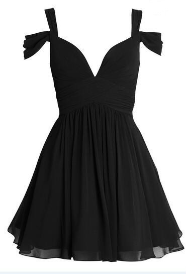Simple Short Chiffon Homecoming Dresses Black women Party Dresses