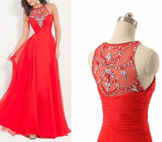 Long Chiffon Prom Dress, Crystals Party Dress, Scoop Neck Evening Dresses