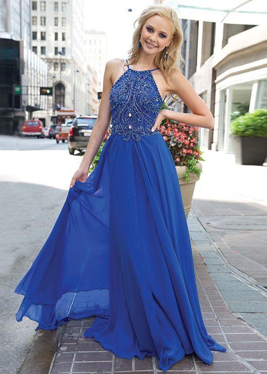 Royal Blue Long Chiffon Prom Dress, Party Dress, Evening Dress