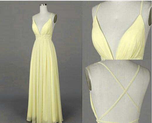 Beautiful Light Yellow Cross Back Long Chiffon Prom by DRESS on Zibbet