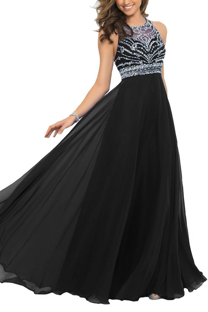 Charming Long Chiffon Prom Dresses Beading O-neck Party Dresses