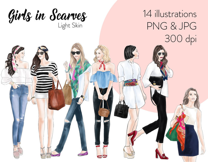 Watercolour fashion illustration clipart - Girls in scarves - Light Skin
