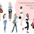 Watercolour fashion illustration clipart - Girls in scarves - Light Skin