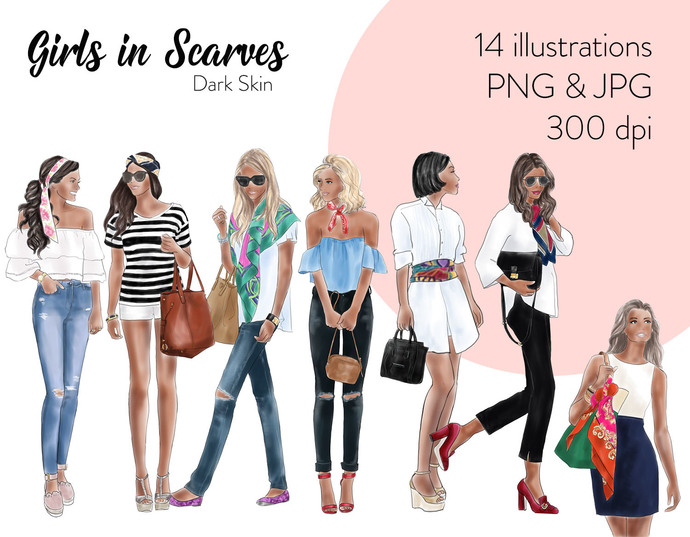 Watercolour fashion illustration clipart - Girls in scarves - Dark Skin