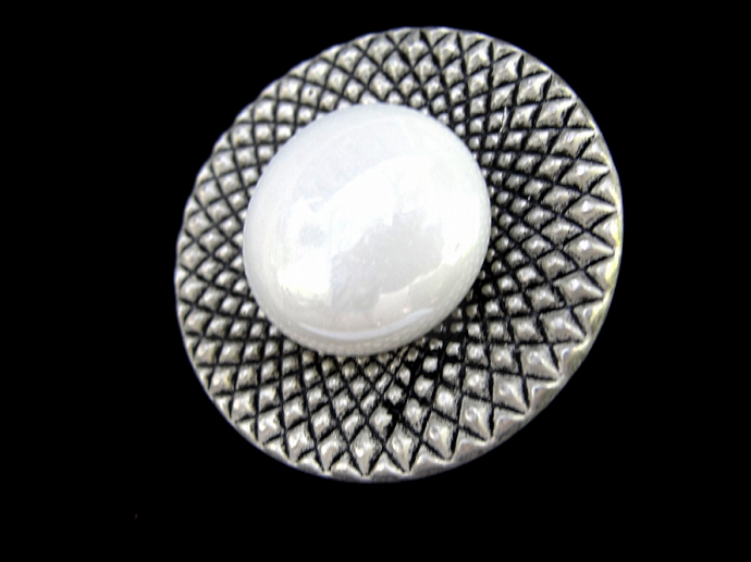 Silver tone Button Brooch with safety pin