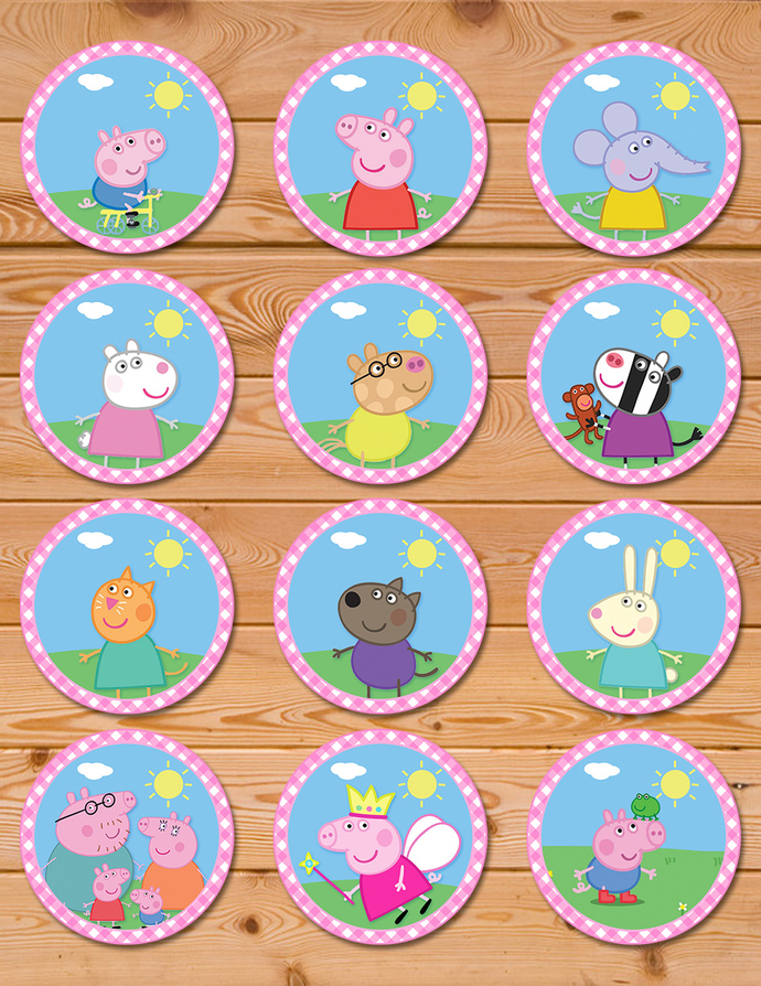Awesome Peppa Pig And Friends Cupcake Toppers Peppa Pig Birthday Induced Funny Birthday Cards Online Overcheapnameinfo