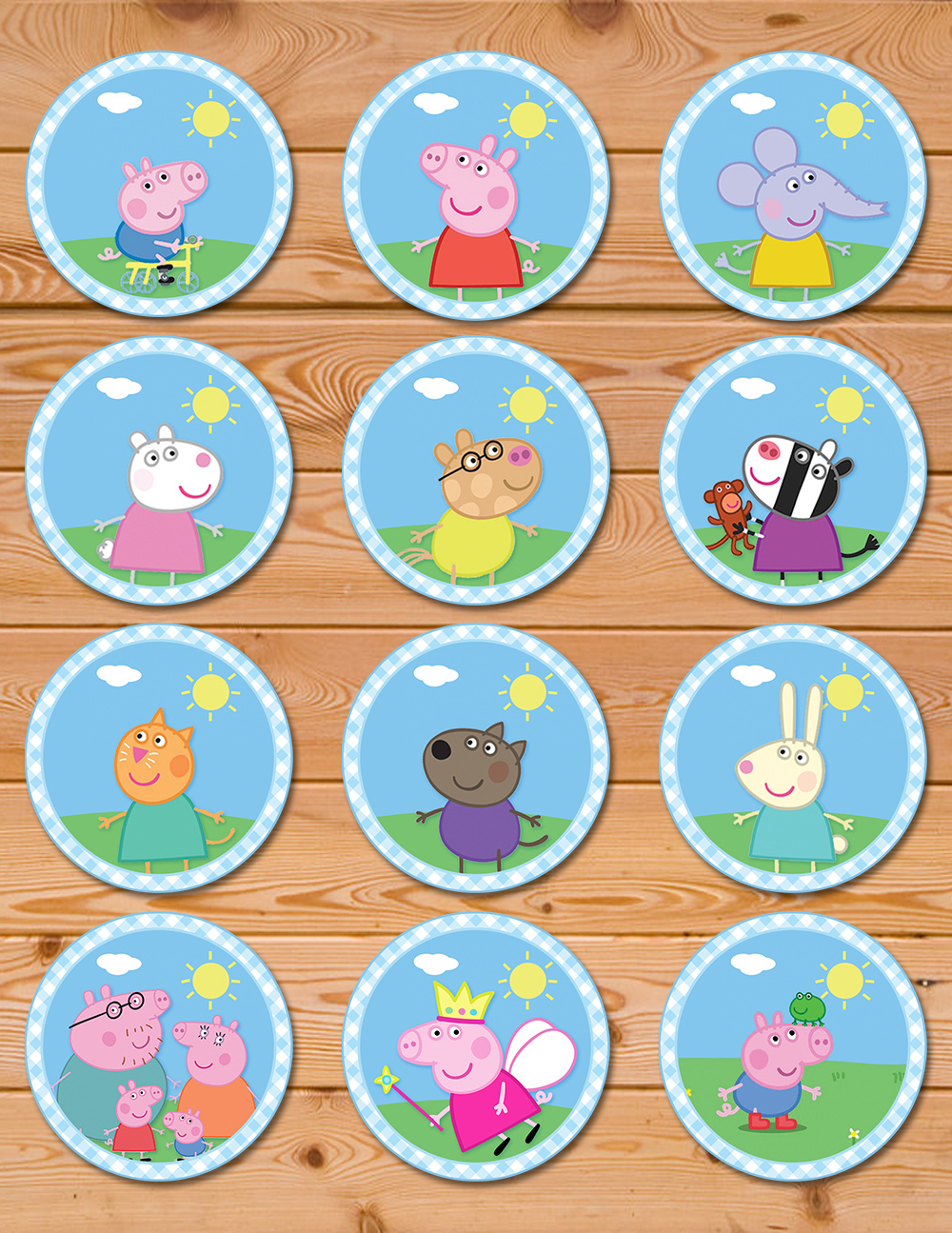 - Peppa Pig Cupcake Toppers Blue Checkered PartyPrintables37