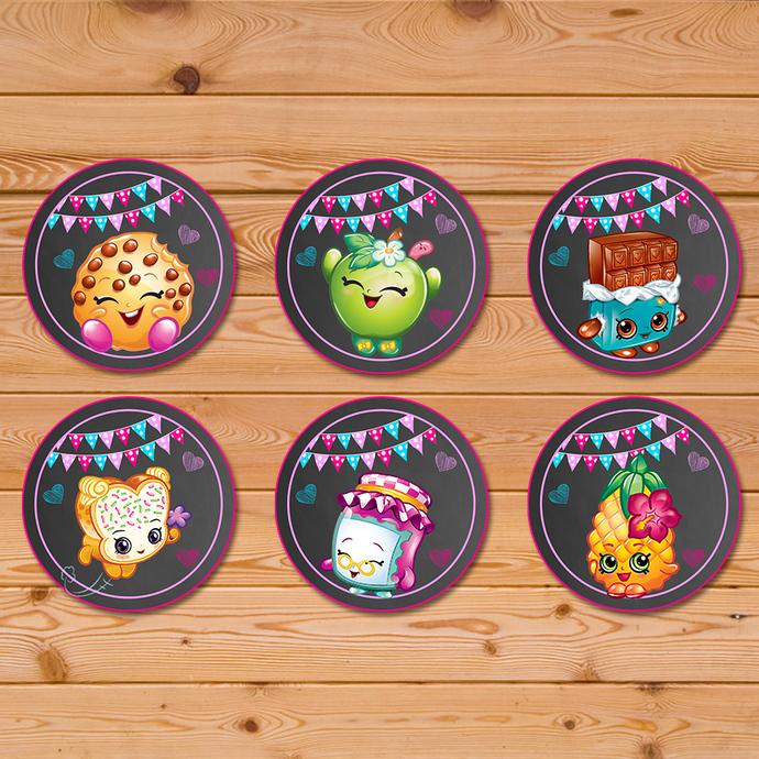 Shopkins Cupcake Toppers Chalkboard * Shopkins Birthday * Shopkins Stickers * Shopkins Party Favors * Shopkins Printables