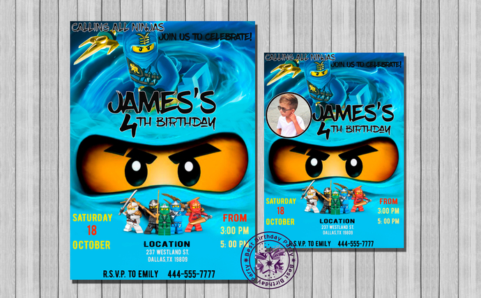 Lego Ninjago Invitation Lego Ninjago by BestBirthdayParty on Zibbet