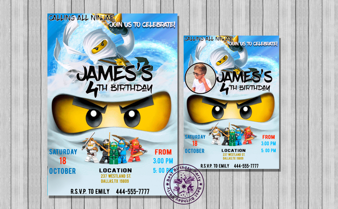 Lego Ninjago Birthday Invitations Invitation White Zane Invite