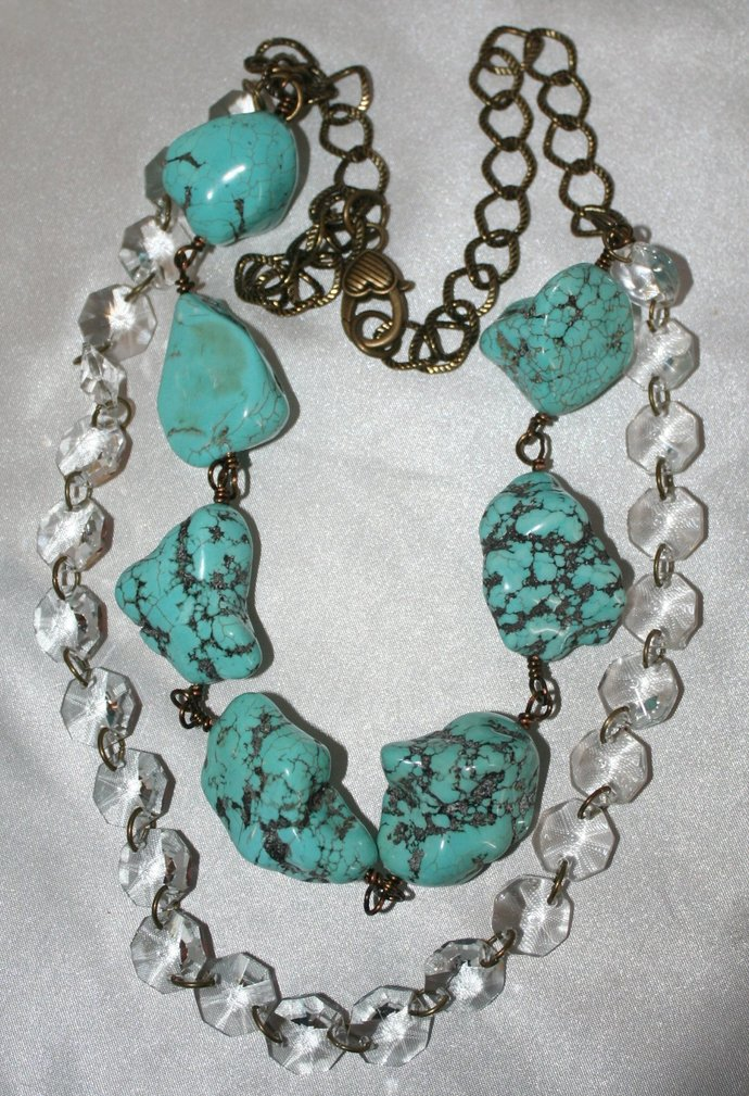Chunky Turquoise Cowgirl Statement Western Wedding Crystal Necklace, Turquoise