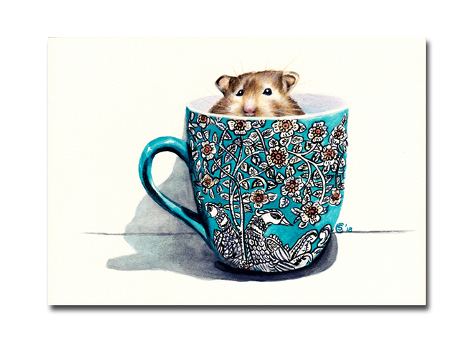 HAMSTER IN A TEA CUP watercolor painting Sandrine Curtiss ORIGINAL Art 5x7""