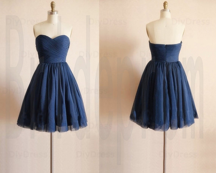 Navy Chiffon Sweetheart Sleeveless Short Prom Evening Party Homecoming Cocktail