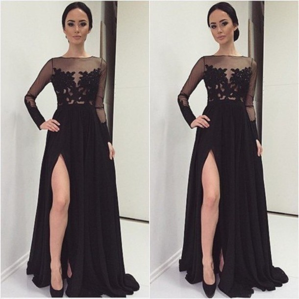 Long Sleeves lace Prom Dress,Sexy Slit Black Prom Gown,Sexy Black Lace Formal