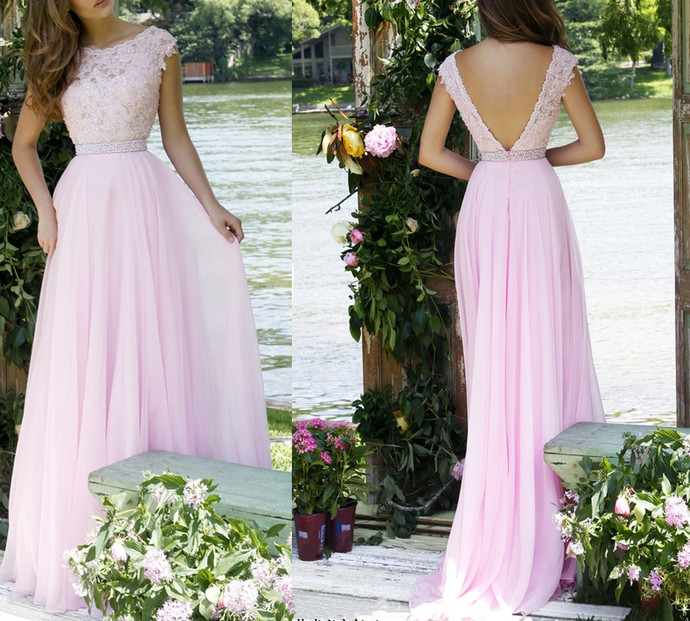 Elegant Prom Gown,Pink Prom Gown,Lace Prom Gown,Cap Sleeve Prom Gown,2018 Prom