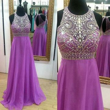 Crystal Detailing A-line Chiffon Prom Dresses 2018