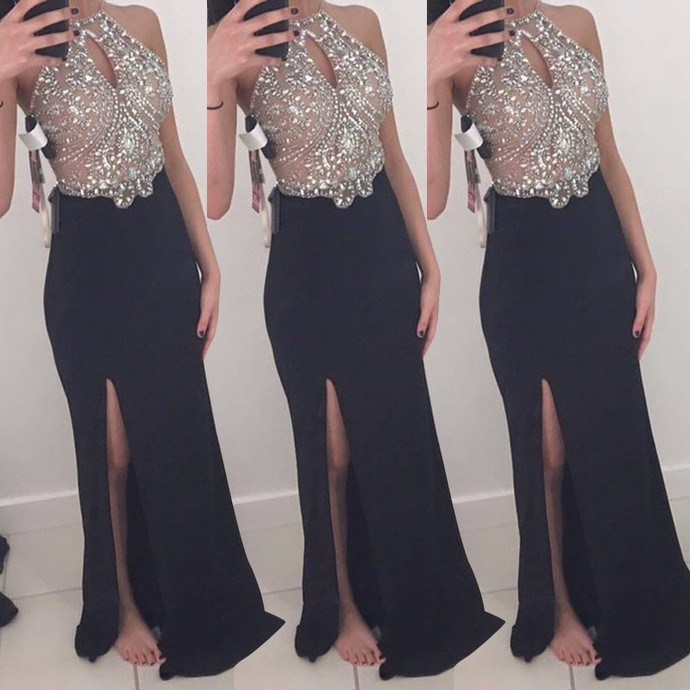 Halter Beaded Mermaid Long Prom Dress, Evening Dress with Side Slit