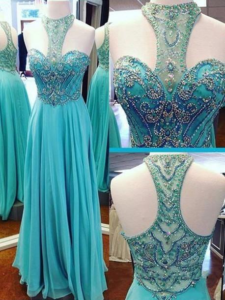 Prom Dress,Beaded Prom Dress,A-line Chiffon Evening Dress,Turquoise Chiffon Prom
