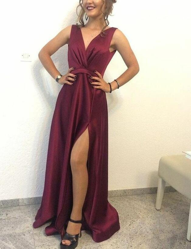 V Neckline Long Satin Burgundy Slit Formal Dresses By Dress On Zibbet